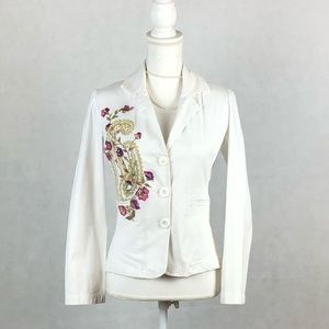 Sz Small WE Embroidered Floral White Jacket